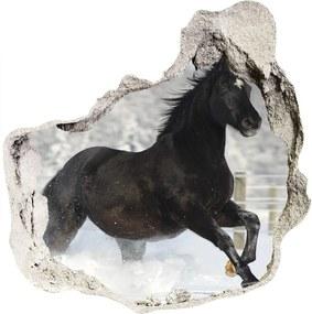 Autocolant gaură 3D Un cal în galop de zăpadă