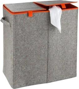 Coș de rufe Wenko Duo, 82 l, gri - portocaliu