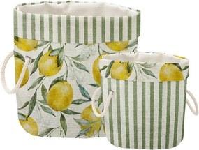 Set 2 coșuri decorative Linen Lemons And Stripes