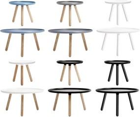 Masuta de Cafea Tablo Mica cu Blat Albastru si Picioare din Lemn NORMANN COPENHAGEN - Plastic Albastru Inaltime (42cm) x Diametru (50cm)
