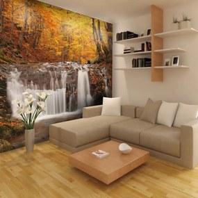 Fototapet - Autumn landscape : waterfall in forest 200x154 cm