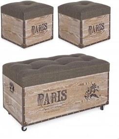 Set bancheta si 2 tabureti verzi/maro din poliester si MDF Travel Paris Bizzotto