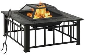 311888 vidaXL Vatră de foc pentru grădină, cu vătrai, 81x81x47 cm, oțel, XXL