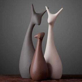 Decoratiune minimalista, familie de cerbi din 3 membri