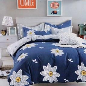 Lenjerie de pat dubla Creponat Satinat Bumbac 220 x 230 cm Model Albastru cu flori albe CRS36