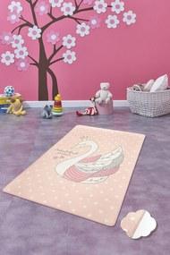 Covor pentru copii Swan Roz - 100 x 160 cm