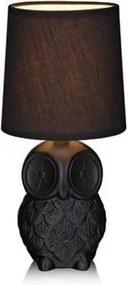 Veioza neagra din ceramica cu abajur textil 14x29 cm Helge Markslojd