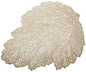 Suport farfurii 30x45cm frunza auriu Glamour