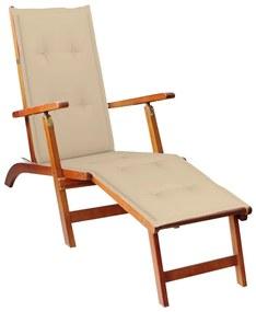 3064017 vidaXL Șezlong exterior, suport picioare și pernă, lemn masiv acacia