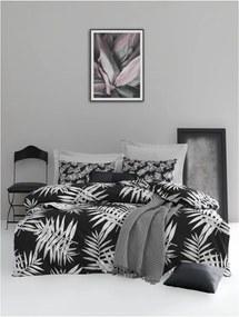 Lenjerie de pat cu cearșaf din bumbac ranforce, pentru pat dublu Mijolnir Palmiye Black, 200 x 220 cm