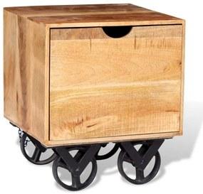 243960 vidaXL Masă laterală cu sertar și roți, lemn de mango 40 x 40 x 45 cm