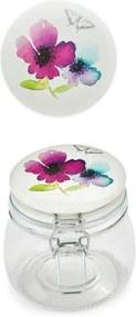 Borcan din sticlă cu capac din ceramică Cooksmart Chatsworth Floral, 500 ml