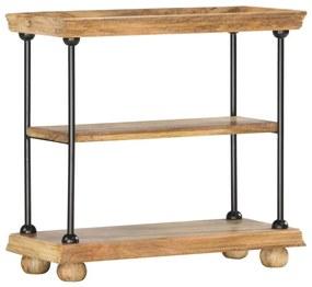 286272 vidaXL Bibliotecă cu 2 rafturi 80x35x75 cm, lemn masiv mango și oțel