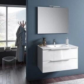Set de baie cu 4 piese MALMO, Melamina Aluminiu Abs Sticla Ceramica Metal, Alb, 81x46.5x190 cm