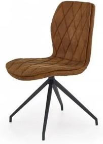Scaun tapitat cu piele ecologica,cu picioare metalice K237 Brown, l49xA62xH90 cm