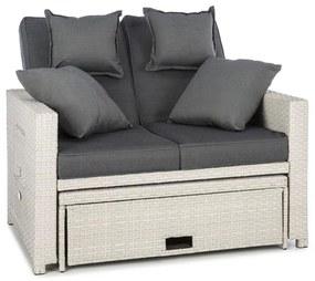 Zona de confort Rattan canapea pentru camera de zi, cu două locuri, din răchită 121x86x99cm 10cm, plianta siextensibila, alba
