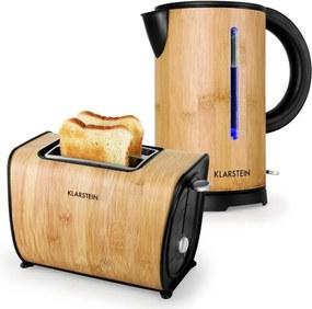 Klarstein KLARSTEIN BAMBOO GARDEN, set de mic dejun, ceainic| toaster | bambus
