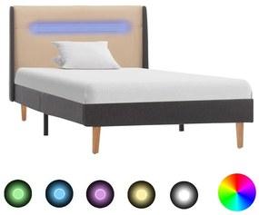 286698 vidaXL Cadru de pat cu LED, crem, 100 x 200 cm, material textil