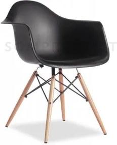 Scaun din plastic cu picioare din lemn Tingo Black, l62xA46xH83 cm