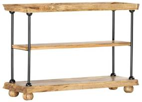 286271 vidaXL Bibliotecă cu 2 rafturi, 110x35x75 cm, lemn de mango și oțel