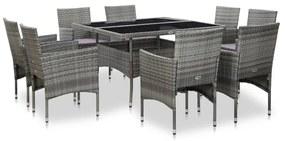 46186 vidaXL Set mobilier de exterior, 9 piese, gri, poliratan și sticlă
