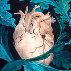 Taburet Mare din Lemn Pictat Manual SHAPE OF MY HEART - Lemn Multicolor Diametru(30 cm) x Inaltime( 40 cm)