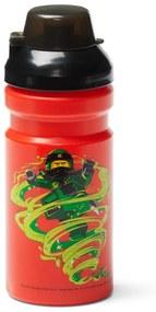 Sticlă pentru apă cu capac negru LEGO® Iconic, 390 ml, roşu