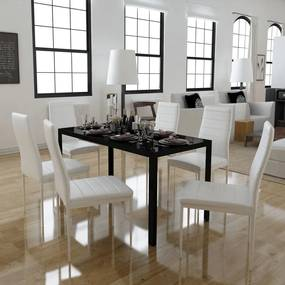 Set masă și scaune de bucătărie 7 piese alb negru