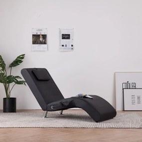 281284 vidaXL Șezlong de masaj cu pernă, negru, piele artificială