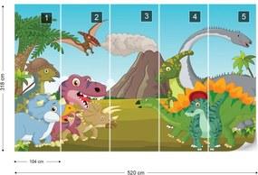 Fototapet GLIX - Cartoon Dinosaurs + adeziv GRATUIT Tapet nețesute  - 520x318 cm