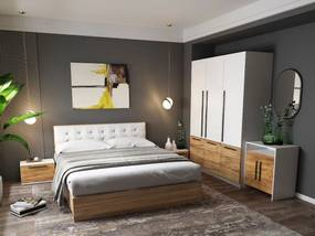 Set Dormitor Timea 5 piese Tapitat Alb