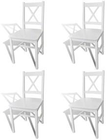 241511 vidaXL Scaune de bucătărie, 4 buc., alb, lemn de pin