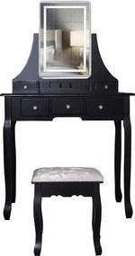 Set Cleopatra, Masă de toaletă cu oglindă iluminată LED, control touch, 5 sertare, scaun, Negru