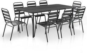9 piese Set mobilier de exterior, gri închis, oțel cu șipci