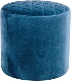 Puf cu tapițerie de catifea House Nordic Ejby, ø 34 cm, albastru