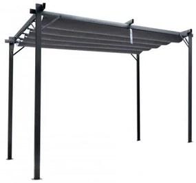 Pergola gradina/terasa, retractabila, gri, 3x3x2.3 m