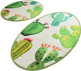 Set 2 covoare baie Tropica Cactus I, alb - verde