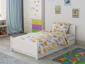 Lenjerie de pat din bumbac pentru pătutul Zoo alb