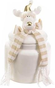 Borcan Craciun ceramic decorativ cu capac model Ren 11 cm x 11 cm x 23 h