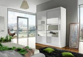 Expedo Dulap dormitor cu uşi glisante CARLA III cu oglindă, 180x215x57, alb mat