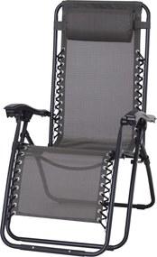 Outsunny Sezlong Scaun Pliabil Rabatabil Sezlong Relax Zero Gravitatie Gravity Textilen, Gri, 90x65x110cm