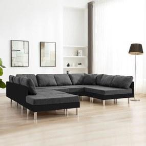 287203 vidaXL Canapea modulară, negru, piele ecologică