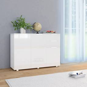 283718 vidaXL Servantă, alb extralucios, 107x35x76 cm