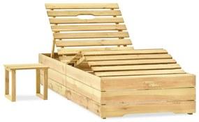 315403 vidaXL Șezlong cu masă, lemn de pin tratat verde