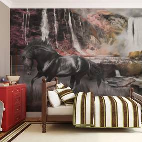 Fototapet Bimago - Black horse by a waterfall + Adeziv gratuit 400x309 cm