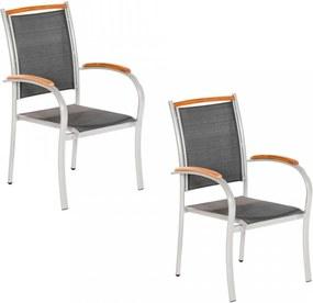 Set de 2 scaune Siena aluminiu / textil, negru/argintiu