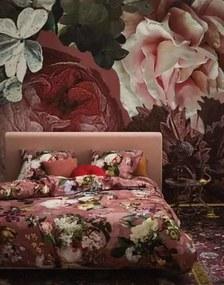 Lenjerie de Pat din Bumbac Satinat, 140x220 cm  - Fleur Dusty Rose