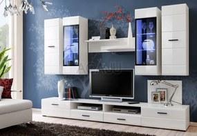 Set mobila living Lauren, mdf alb lucios, ILUMINARE LED INCLUSA, 280x195x46 cm