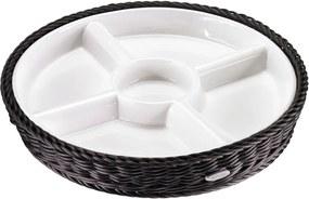 Bol servire din porțelan în coș negru Saleen, 28,5 x 4,5 cm