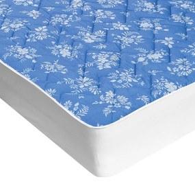 Protecţie de saltea matlasată cu aloe vera albastră cu flori albe 140 x 200 cm
